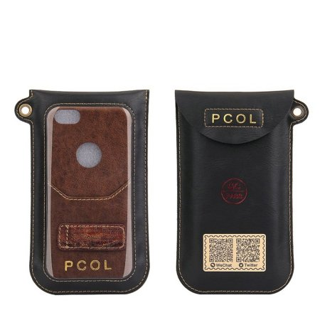 PCOL Genuine Leather Wallet Kickstand Case Card Slot For iPhone 7 Plus 5.5 Inch