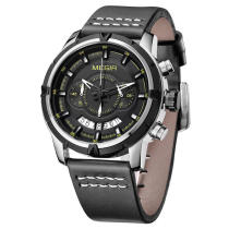 MEGIR 2047 Top Brand Male Multifunction Chronograph Luminous Fashion Casual Men Quartz Watch