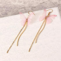 Sweet Pink Butterfly Arc Line Tassel Pendant Ear Clip Drop Earrings Fashion Jewelry for Women