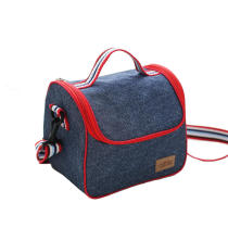 IPRee Portable Denim Lunch Bag Picnic Bento Box Insulated Pack Drink Food Thermal Ice Cooler