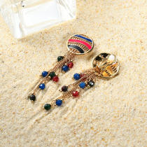 Women Bohemian Earrings Gold Plated Round Charm Tassel Colorful Bead Pendant Ear Clip Boho Jewelry