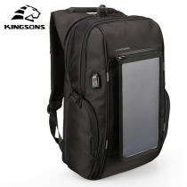 KINGSONS Solar Charging Backpack Business Laptop Bag with Removable Front Charging Panel & USB Port