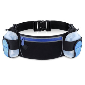 Hydration neoprene running belt with 2 bottles
