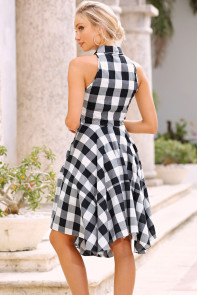 Black White Gray Checks Flared Shirtdress