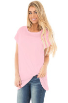 Solid Pink Front Knot Short Sleeves Tee