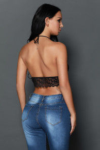 Black Sheer Scalloped Lace Halter Bralette Top