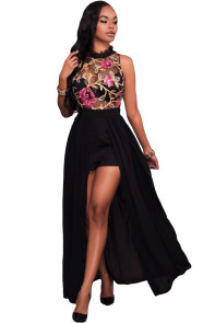 Black Sheer Mesh Embroidery Chiffon Romper Maxi Dress