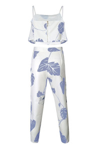Blue Mottled Print Frill Crop Top and Pant Set