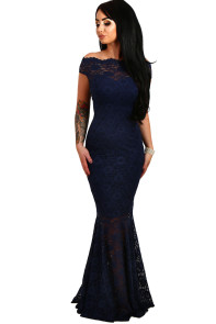 Navy Bardot Lace Fishtail Maxi Dress
