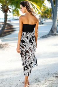 Black White Printed Beach Dress