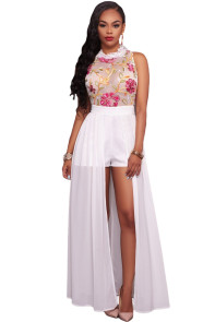 White Sheer Mesh Embroidery Chiffon Romper Maxi Dress