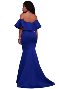 Royal Blue Ruffle Off Shoulder Ponti Maxi Party Dress