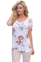 White Super Soft Floral Tee Shirt with Crisscross Neck