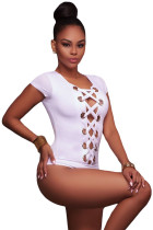 White Lace up Front Bodysuit
