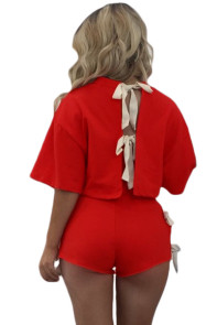 Beautiful Tie Up Detail Red Short Set