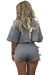 Beautiful Tie Up Detail Grey Short Set