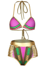 Rosy African Tribal Metallic Cutout High Waist Swimsuit