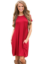 Wine Red Short Sleeve Flared Dress