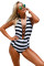 Black White Stripes Lace Up Halter One Piece Swimsuit