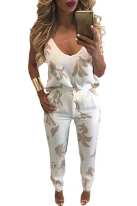 Khaki Pattern V Neck Top and Pencil Trousers