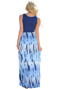 Blue Tie Dye Print Sleeveless Long Boho Dress