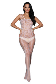 White Strappy Shoulders Floral Motif Mesh Body Stockings