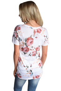 White Floral V Neck Short Sleeve T-shirt