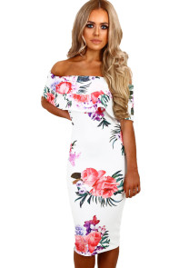 White Multi Floral Bardot Midi Dress