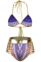 Purple African Tribal Metallic Cutout High Waist Swimsuit