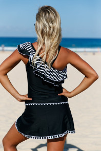 Striped Ruffle One Shoulder Tankini Swimsuit