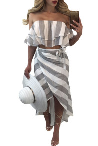Grey and White Stripes Ruffled Top and Skirt