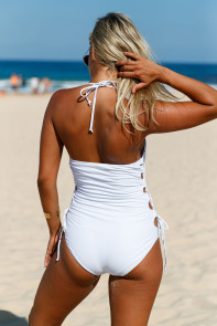 White Halter Neck Lace up Sides Monokini