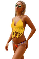 Yellow Crochet Bikini Top with Neoprene Bottom