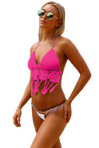 Rosy Crochet Bikini Top with Neoprene Bottom