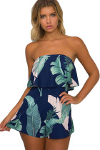 Dark Blue Palm Leaf Print Ruffle Strapless Romper