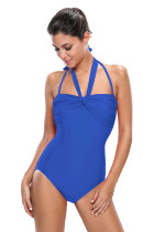 Royal Blue Double Halterneck Ruched One Piece Swimsuit