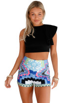 Blue Stylish Print Party High Waist Shorts