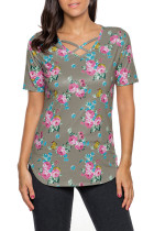 Coffee Super Soft Floral Tee Shirt with Crisscross Neck