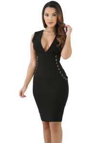 Black Lace It Sideways Bodycon Dress