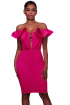 Rosy Off Shoulder Ruffle Bodycon Party Dress