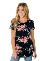 Black Short Sleeve Round Neck Floral Printed T-shirt