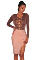 Peachy Gold Button Slit Bandage Skirt