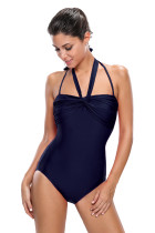 Navy Blue Double Halterneck Ruched One Piece Swimsuit