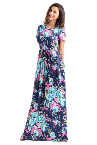 Pocket Design Short Sleeve Bright Blue Floral Maxi Dress