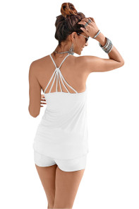 White Strappy Back Detail Summer Top