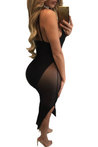 Black Bodysuit Insert Mesh Midi Club Dress