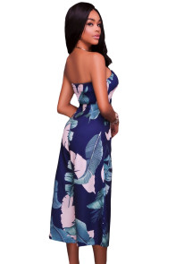 Dark Blue Leaf Print Strapless Capris Jumpsuit