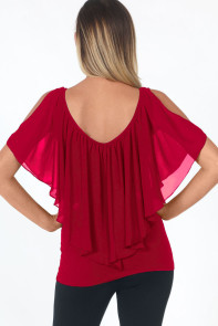 Wine Red Cold Shoulder Flutter Top