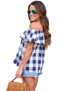 Navy Checkered Pattern Off Shoulder Top