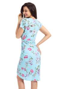 Chic Knot Side Wrapped Light Blue Floral Dress